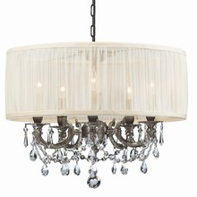 Crystorama 5535-PW-SAW-CLM - Crystorama Gramercy 5 Light Pewter Drum Shade Mini Chandelier