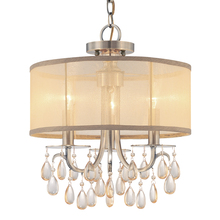 Crystorama 5623-AB - Crystorama Hampton 3 Light Brass Etruscan Crystal Drum Shade Chandelier