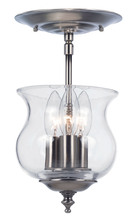 Crystorama 5715-PW - Crystorama Ascott 3 Light Pewter Semi-Flush