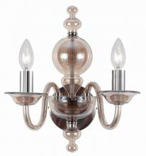 Crystorama 9842-CH-CG - Crystorama Harper 2 Light Cognac Glass Sconce