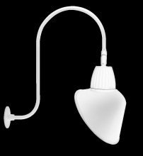 "RAB Lighting GN3LED13YACW - GOOSENECK UPCURVE 30"" HIGH, 25"" FROM WALL 13W WARM LED 15"" ANGLED CONE SHADE WHITE"
