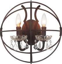 Crystal World 5465W14DB-2 - 2 Light Brown Wall Light from our Bird Cage collection
