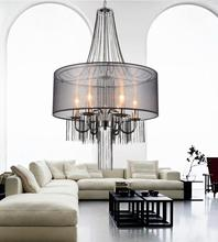 Crystal World 5475P20C-6 Black - 6 Light Chrome Drum Shade Chandelier from our Amelia collection