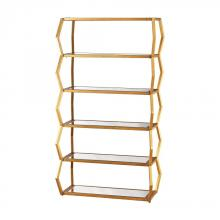 Dimond 1114-201 - Anjelica Bookshelf In Gold Leaf And Clear Mirror