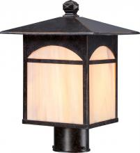 Nuvo 60/5755 - Canyon 1 LT Outdoor Post Fixture w/ Honey Stained Glass - Umber Bronze
