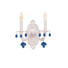 Crystorama 5200-AW-BLUE - Crystorama Paris Market 2 Light Blue Crystal White Sconce