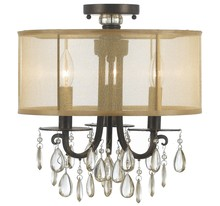 Crystorama 5623-EB_CEILING - Crystorama Hampton 3 Light Bronze Etruscan Crystal Drum Shade Ceiling Mount