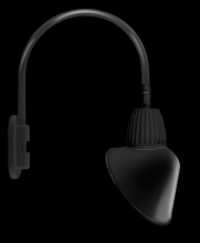 "RAB Lighting GN4LED26YACB - GOOSENECK WALL 20"" HIGH, 19"" FROM WALL 26W WARM LED 15"" ANGLED CONE SHADE BLACK"