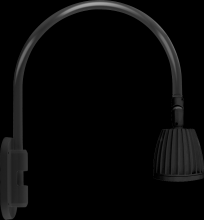 "RAB Lighting GN4LED26YSB - GOOSENECK WALL 20"" HIGH, 19"" FROM WALL 26W WARM LED NO SHADE SPOT REFLECTOR BLACK"