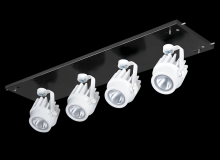 RAB Lighting MDLED4X12F-20YY-B-W - MULTI 4X12W LED 27K 20DEG BLK GEAR TRAY WH HEAD 120V - 277V