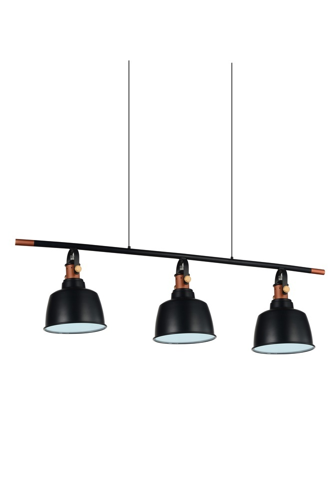 3 Light Black Pool Table Light from our Tower Bell collection