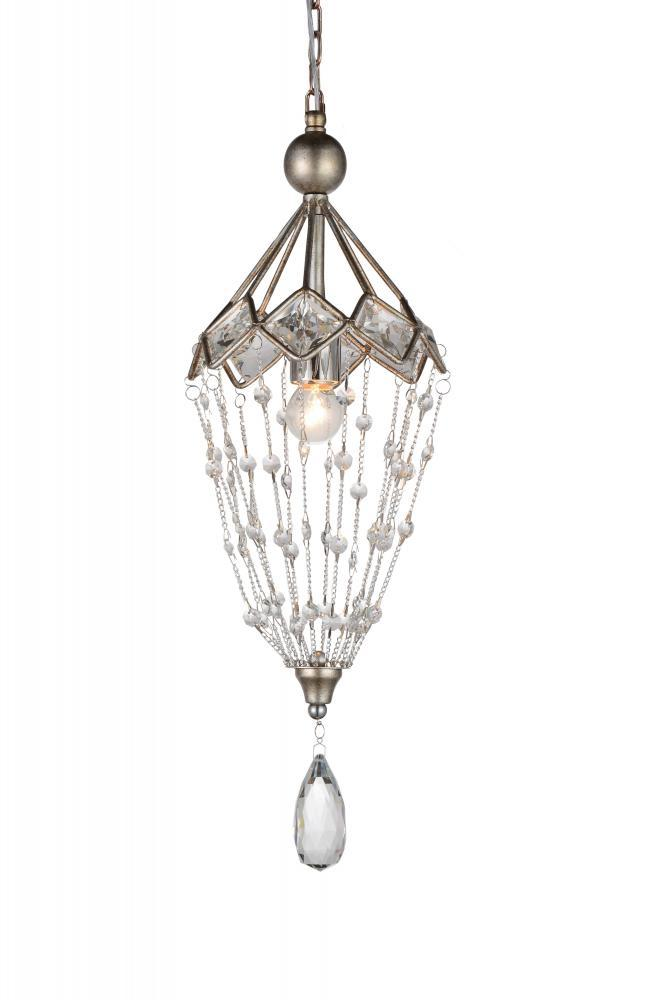 1 Light Speckled Nickel Down Mini Chandelier from our Pembina collection