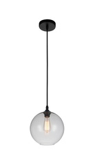 Crystal World 5553P10-Clear - 1 Light Black Down Mini Pendant from our Glass collection