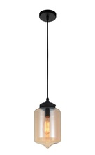 Crystal World 5570P7C - Amber - 1 Light Black Down Mini Pendant from our Glass collection