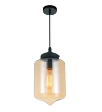 Crystal World 5570P7C - Cognac - 1 Light Black Down Mini Pendant from our Glass collection