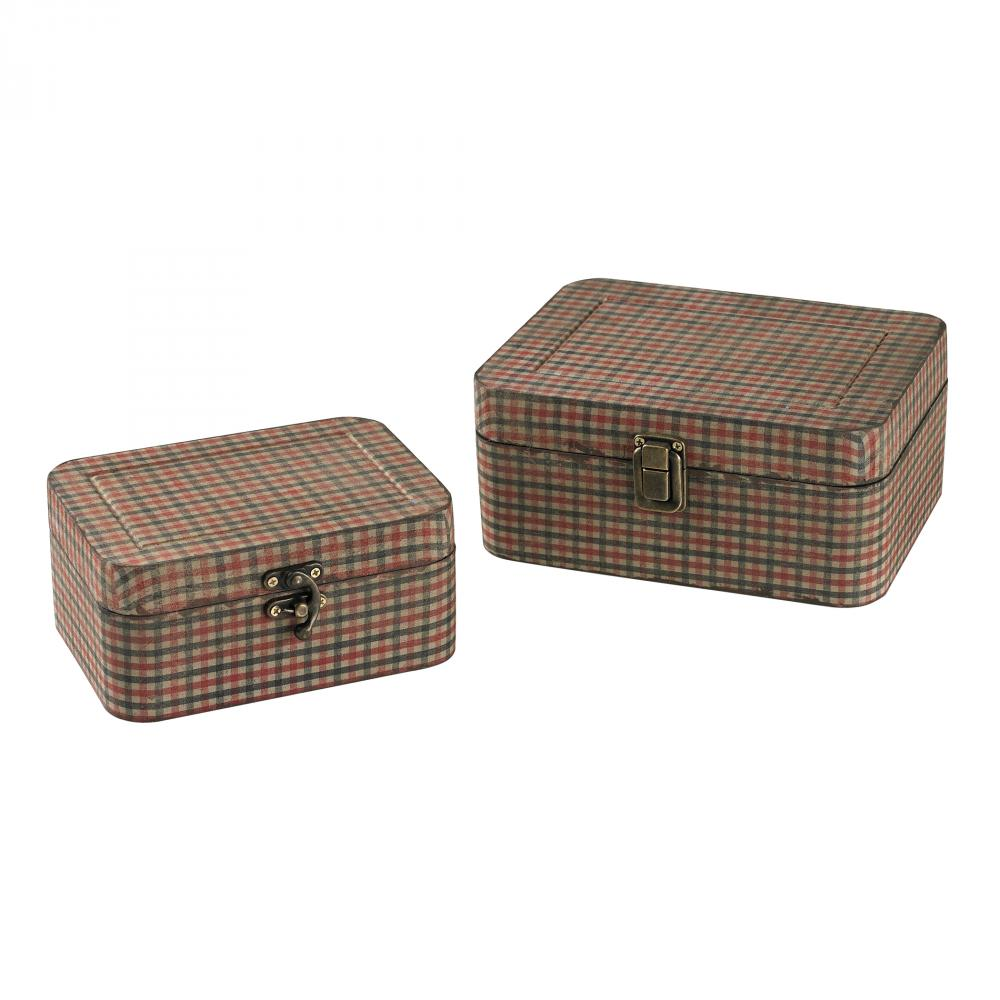 Coastal Lighting & Supply in Chesapeake, Virginia, United States,  43T2Y, Set Of 2 Gingham Wrapped Boxes,