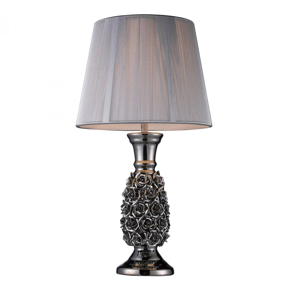 Roseto Table Lamp In Alisa Silver With Silver String Shade