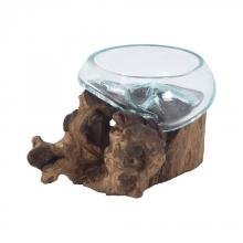 Dimond 7163-074 - Jetsam Teak Root And Glass Vessel - Short