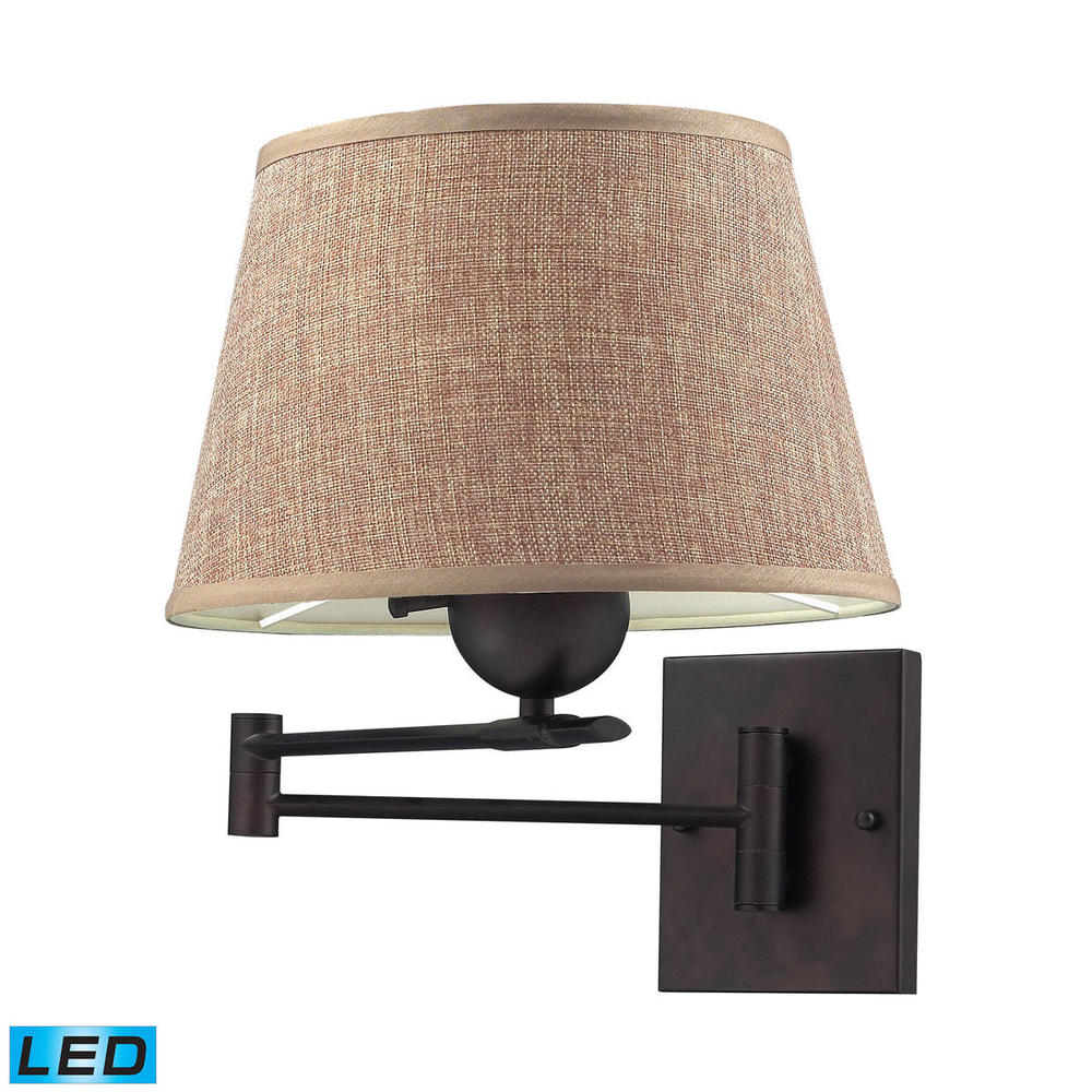 Swingarms 1 Light LED Swingarm Sconce In Aged Br