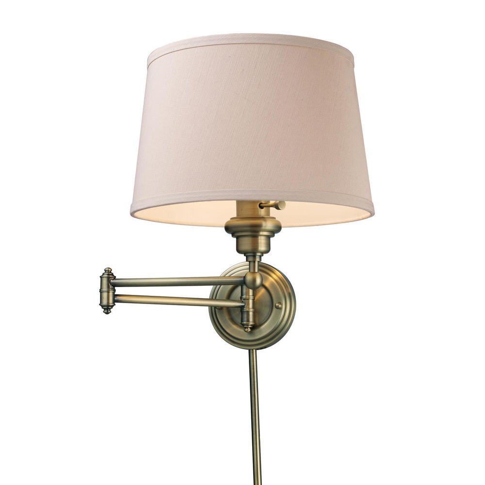 Westbrook 1 Light Swingarm Sconce In Antique Bra
