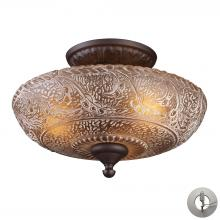 ELK Lighting 66191-3-LA - Norwich 3 Light Semi Flush In Oiled Bronze And A